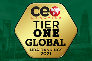 CEO Magazine Tier One Global MBA UNC Charlotte Badge