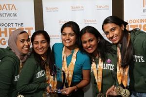 Photo (l to r) Vinaya Tinguria, Noelline Dsouza, Aysha Nahan, Esra Alshammari and Shaarvani Karvula