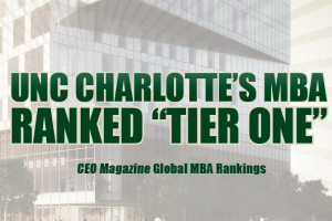 "UNC Charlotte's MBA again named a ""Tier 1"" program in Global MBA Rankings"