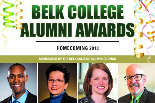 2018 Belk College Alumni Awards graphic
